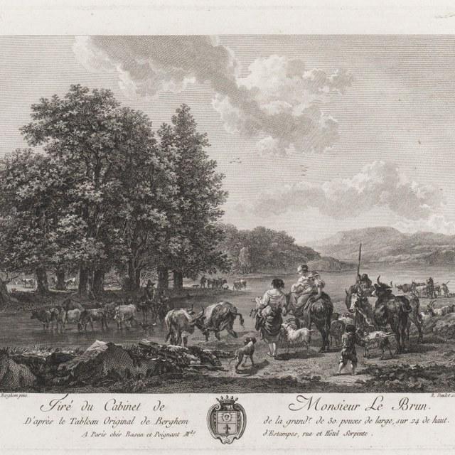 Landschap met figuren en drinkend vee