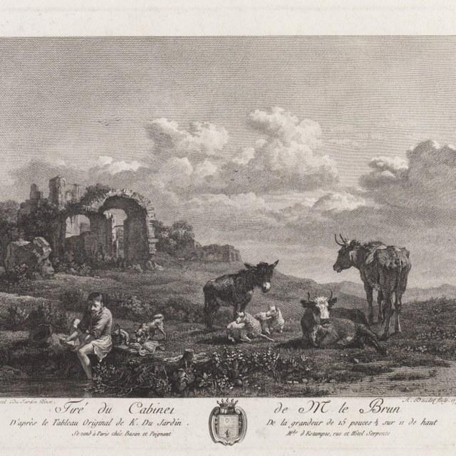 Landschap met voetenwassende herder op de voorgrond