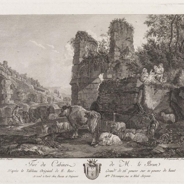 landschap met ruïne en beesten