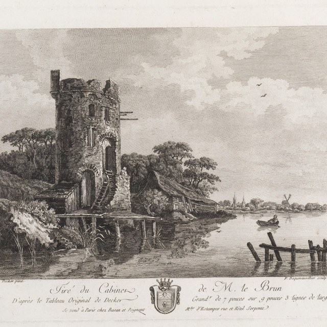 Rivierlandschap met ruïne van een toren