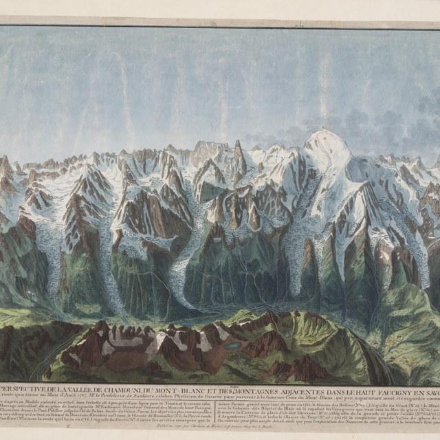 Gezicht op het dal van Chamonix en de Mont Blanc bergketen met de routes van de beklimmingen door Prof. De Saussure