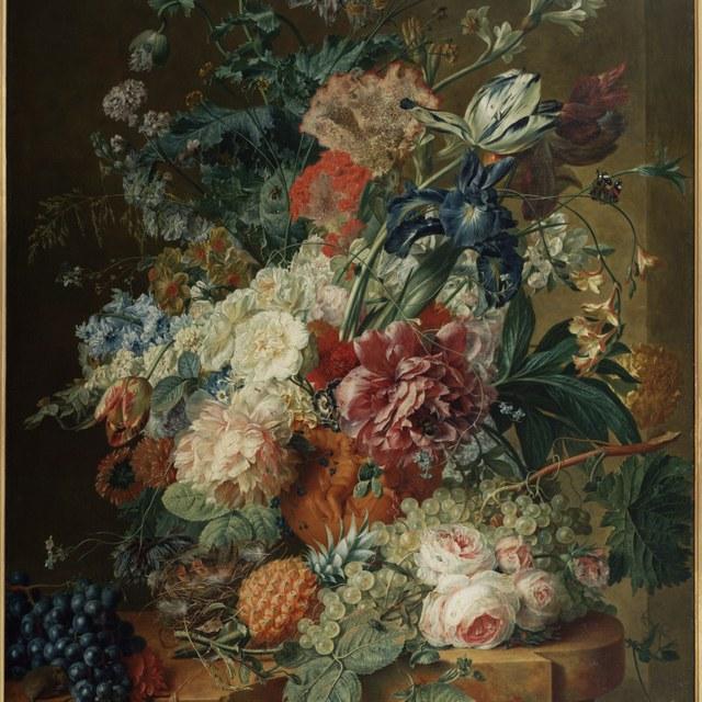 Stilleven van bloemen en vruchten