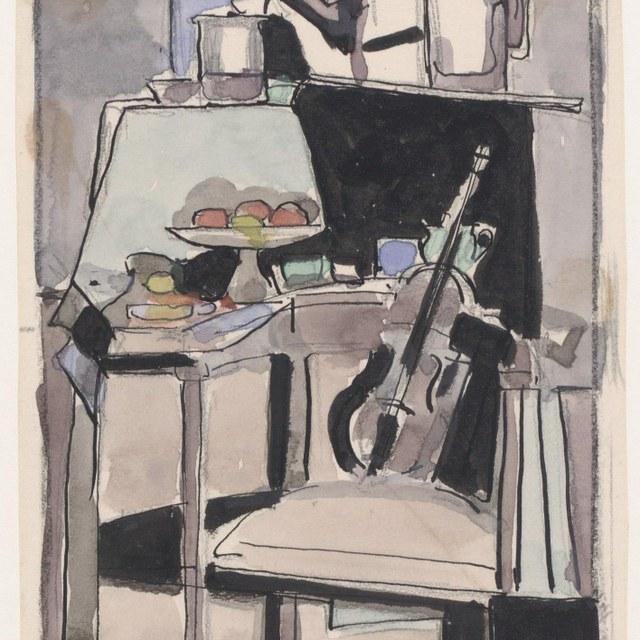 Stilleven met fruitschaal op voet en een viool op een stoel