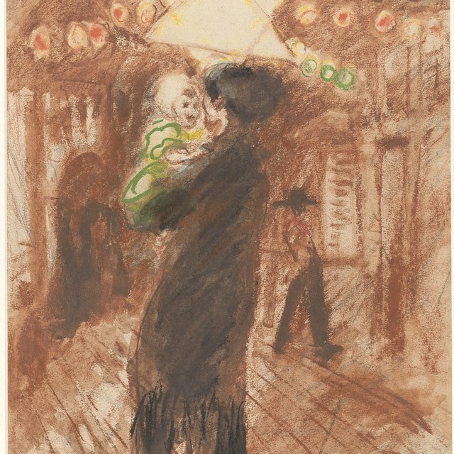 Vrouw met kind onder davidster te Venetië (1929)