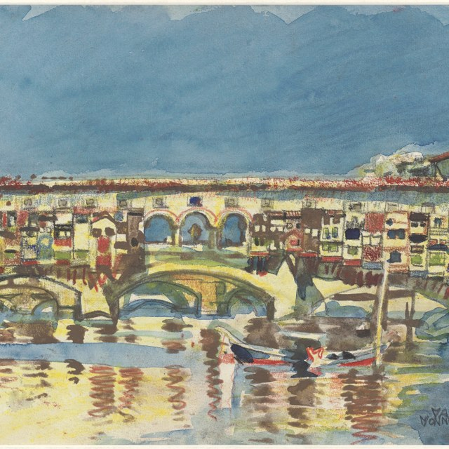 Ponte Vecchio vanaf Ponte alle Grazie te Florence, 1932
