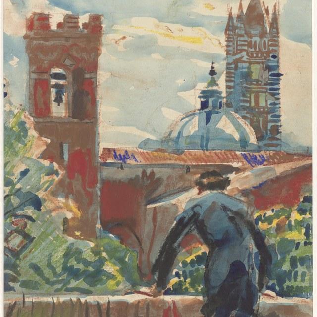 Gezicht op Siena met Martin Monnickendam leunend op een muurtje, 1932