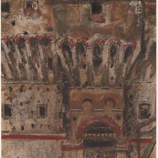 Middeleeuws bouwwerk in Bologna(?), 1932