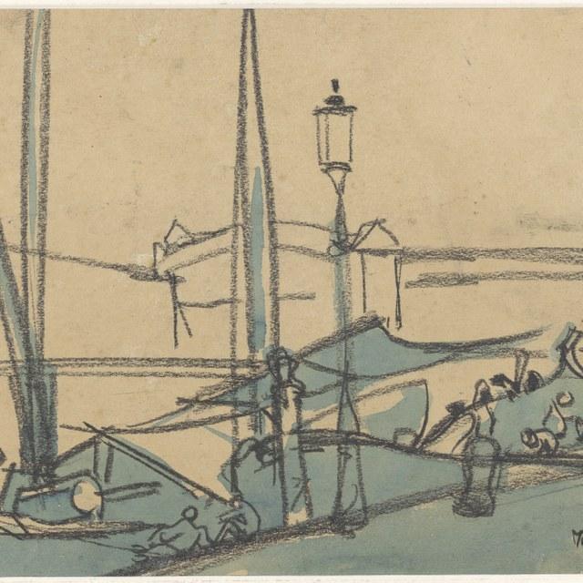 Kade met schepen (Venetië), 1929