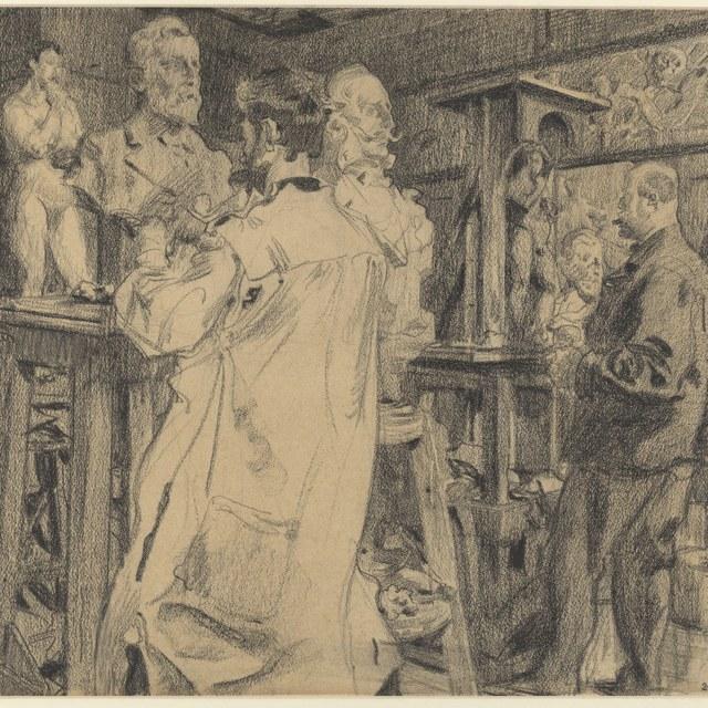 Het atelier van de beeldhouwer Abraham Hesselink, 1906
