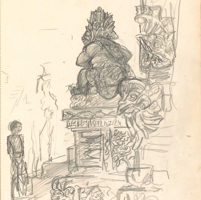 Schetsboekje, gebruikt in Nederlands Oost-Indië, 1925, met 50 bladen en 58 schetsen