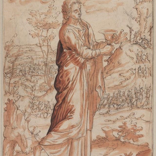 Johannes de Evangelist met een kelk in een landschap