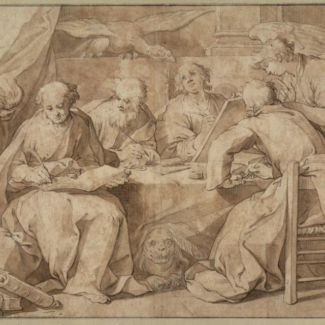 Evangelisten schrijvend rond een tafel