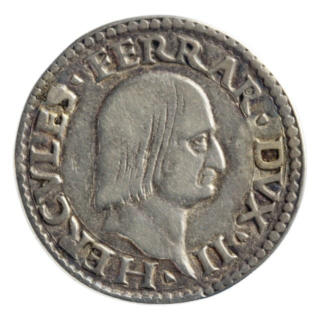 Teston (doppio grossone) uit Ferrara en Modena op naam van Hercules II d'Este, hertog van Ferrara en Modena (1534-1559).