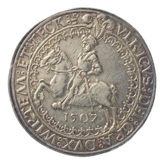 """""""(Reiter)taler; guldengroschen, uit Würtemberg op naam van hertog Ulrich van Württemberg."""""""