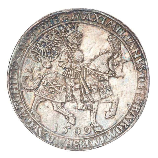 Dubbele taler op naam van Maximiliaan I.