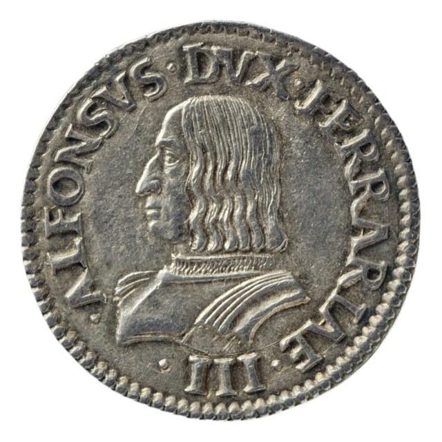Teston uit Ferrara op naam van Alfonso I d'Este, hertog van Ferrara, Modena en Reggio (1505-1534).