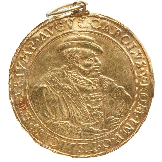 Nieuw wapen aan de stad Hildesheim verleend door keizer Karel V. Draagteken.