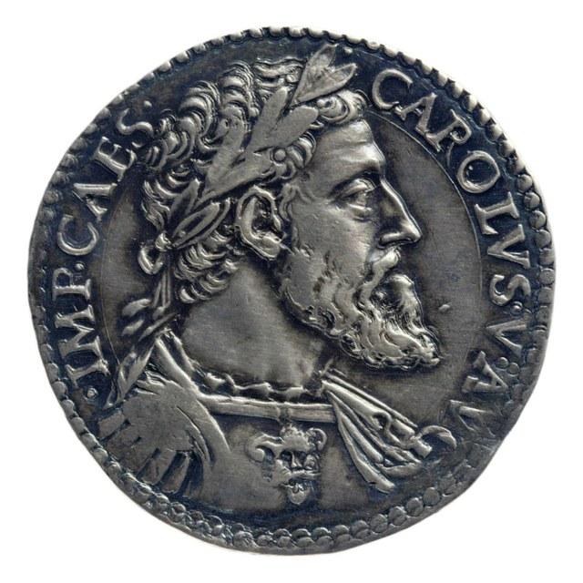 Teston [vervalsing] uit Milaan op naam van Karel V, keizer (1519-1556).
