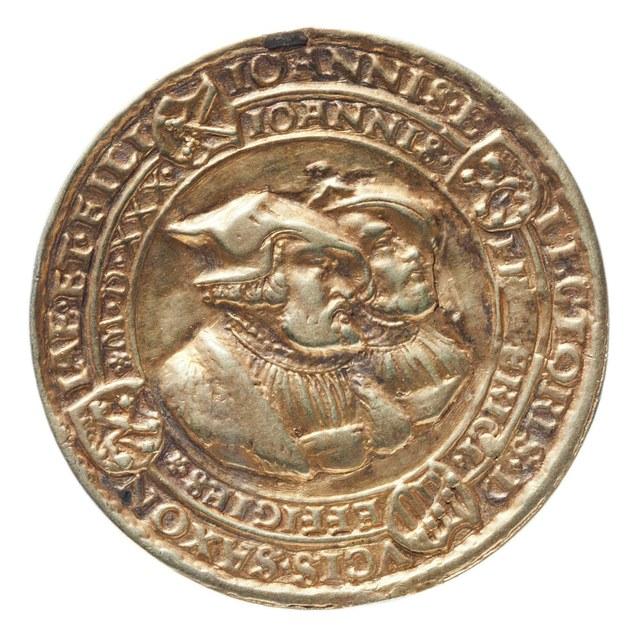 Johan, keurvorst van Saksen en zijn zoon Johan Frederik, verdedigers van het Lutherse standpunt op de Rijksdag te Augsburg.
