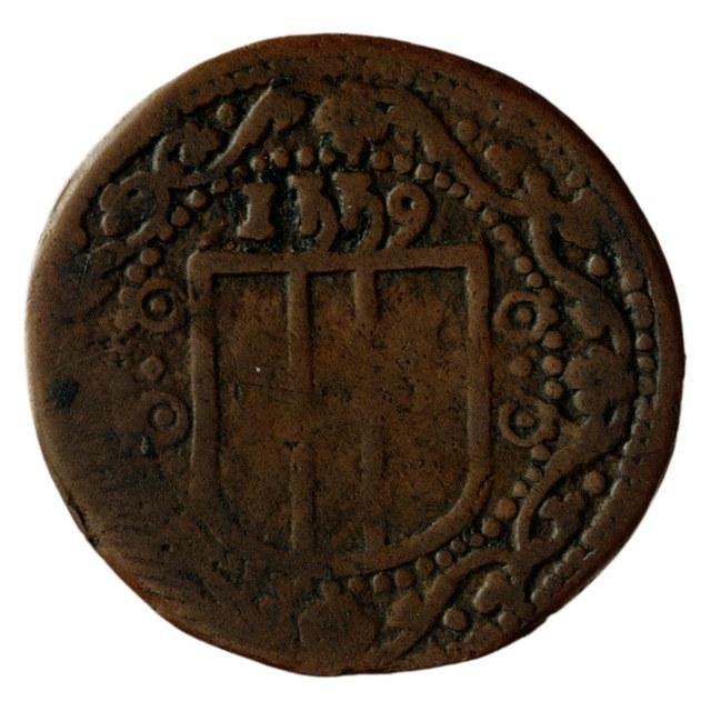 Armenpenning (duit) van de Heilige-Geestmeesters te Delft.