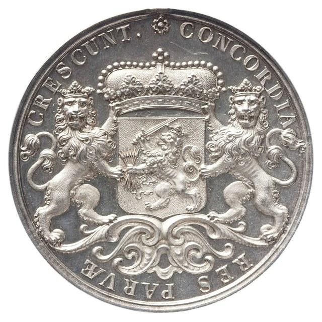 Beloningspenning (zilveren afslag), aan buitenlandse gezanten en bij bijzondere gelegenheden aangeboden.