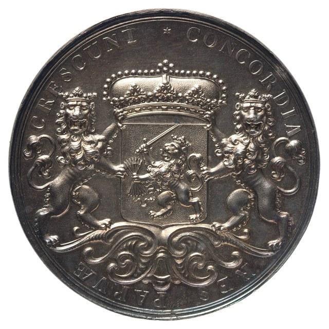 Beloningspenning (zilveren afslag) van de Staten-Generaal, aan buitenlandse gezanten en bij bijzondere gelegenheden aangeboden.