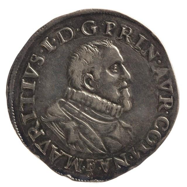 Daalder uit Orange op naam van Maurits, prins van Oranje, graaf van Nassau, stadhouder 1618-1625.