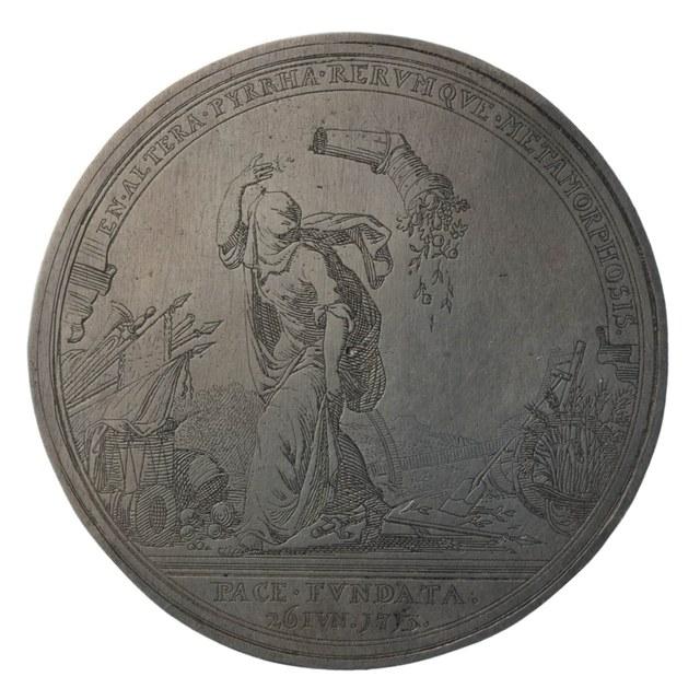 Herdenking van het eerste vredesjaar na de Vrede van Utrecht tussen Frankrijk en de geallieerde landen.